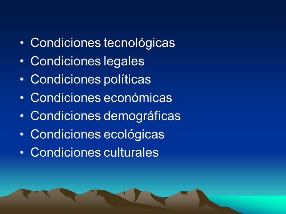 Condiciones tecnológicas Condiciones legales Condiciones políticas Condiciones económicas Condiciones demográficas Condiciones ecológicas Condiciones