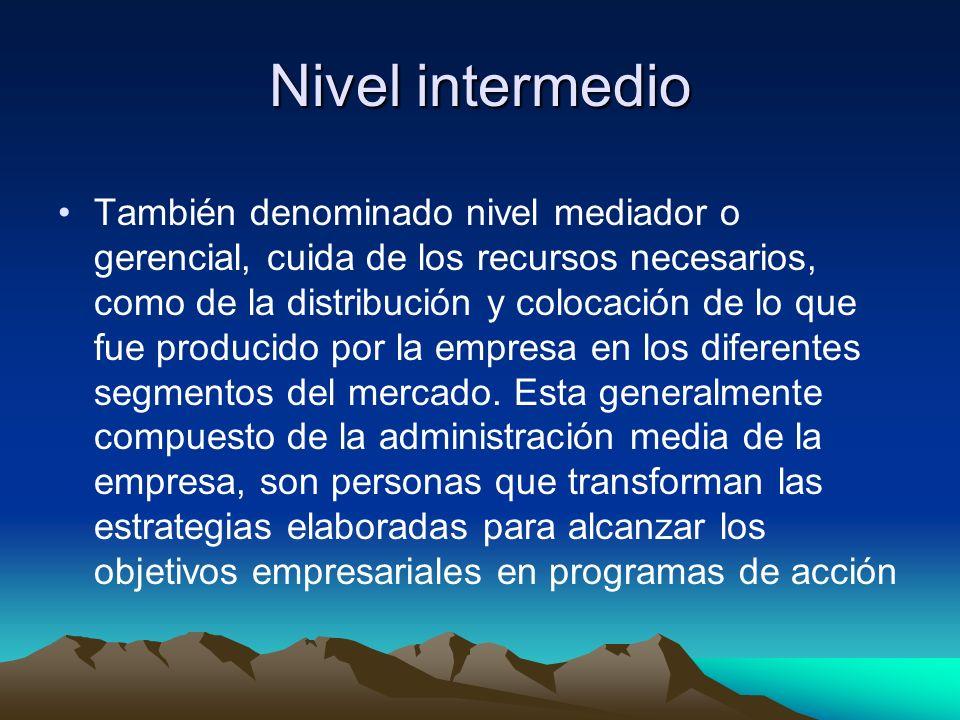Nivel intermedio También denominado nivel mediador o gerencial, cuida de los recursos necesarios, como de la distribución y colocación de lo que fue p