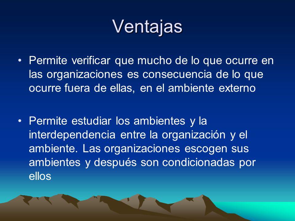 Ventajas Permite verificar que mucho de lo que ocurre en las organizaciones es consecuencia de lo que ocurre fuera de ellas, en el ambiente externo Pe