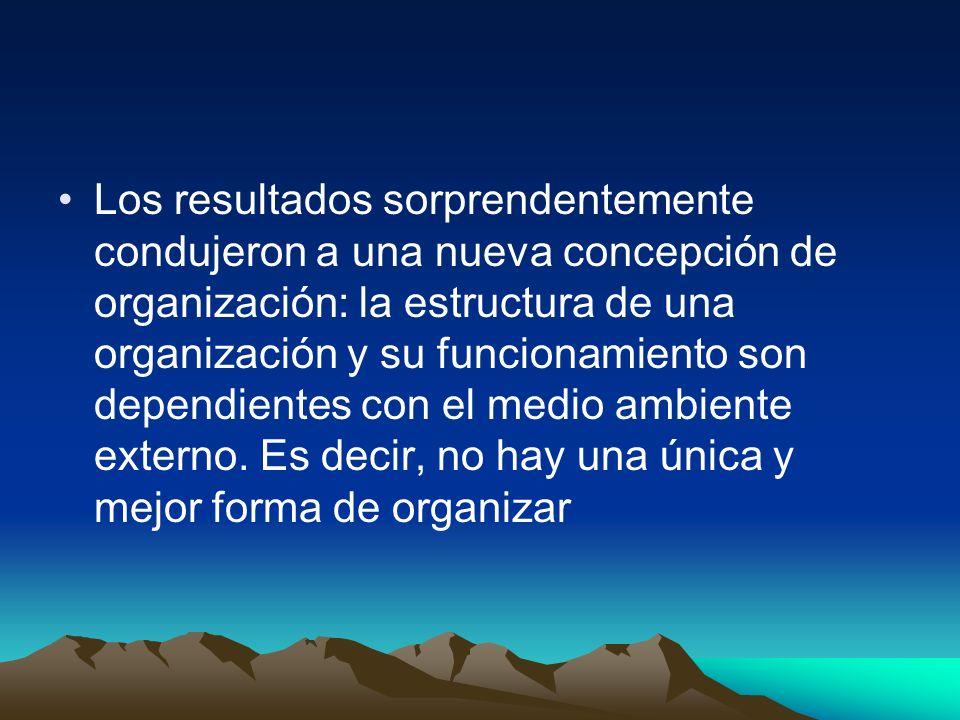 Los resultados sorprendentemente condujeron a una nueva concepción de organización: la estructura de una organización y su funcionamiento son dependie