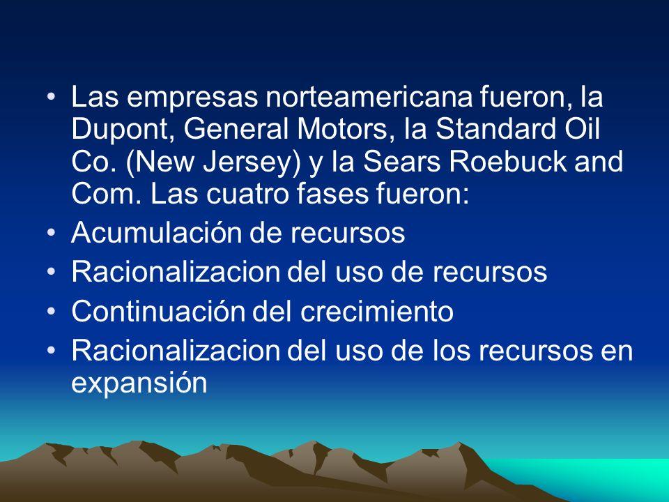 Las empresas norteamericana fueron, la Dupont, General Motors, la Standard Oil Co. (New Jersey) y la Sears Roebuck and Com. Las cuatro fases fueron: A