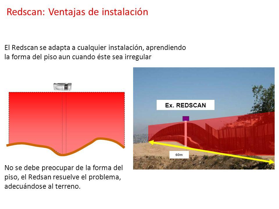 No se debe preocupar de la forma del piso, el Redsan resuelve el problema, adecuándose al terreno. Ex. Active photo beam 60m Ex. REDSCAN 60m El Redsca