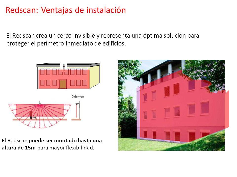 El Redscan puede ser montado hasta una altura de 15m para mayor flexibilidad. El Redscan crea un cerco invisible y representa una óptima solución para
