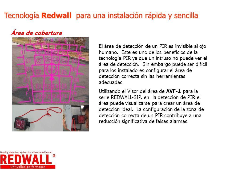 Tecnología Redwall para una instalación rápida y sencilla Área de cobertura El área de detección de un PIR es invisible al ojo humano. Este es uno de