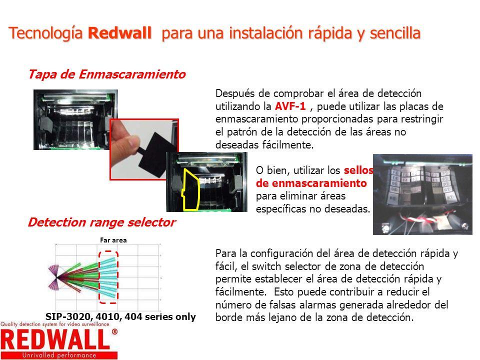 Tecnología Redwall para una instalación rápida y sencilla Tapa de Enmascaramiento Después de comprobar el área de detección utilizando la AVF-1, puede