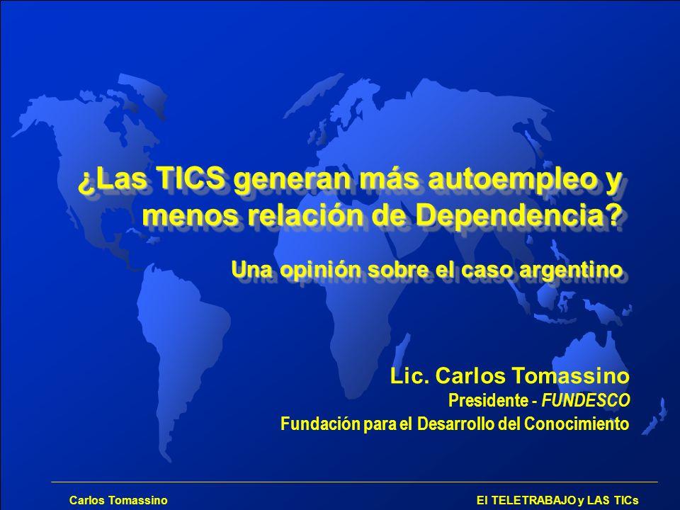 Carlos Tomassino El TELETRABAJO y LAS TICs Lester Thurow: la base de la pirámide RIQUEZA HERRAMIENTAS HABILIDADES CREACIÓN DE CONOCIMIENTO ESPÍRITU EMPRENDEDOR ORGANIZACIÓN SOCIAL Conocimiento: Piedra basal sobre la que se construirá la riqueza La riqueza ya no será cuestión de propiedad sino de CAPACIDAD.