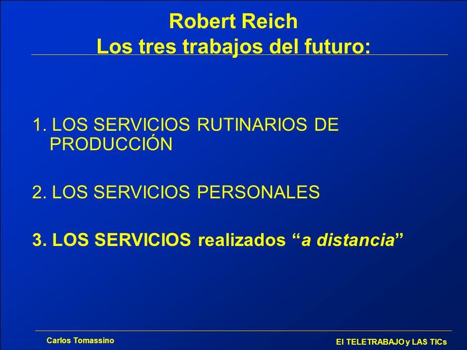 Carlos Tomassino El TELETRABAJO y LAS TICs Robert Reich Los tres trabajos del futuro: 1. LOS SERVICIOS RUTINARIOS DE PRODUCCIÓN 2. LOS SERVICIOS PERSO