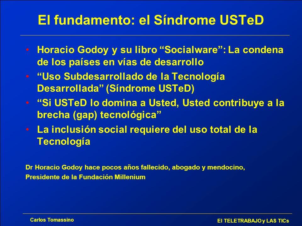 Carlos Tomassino El TELETRABAJO y LAS TICs El fundamento: el Síndrome USTeD Horacio Godoy y su libro Socialware: La condena de los países en vías de d