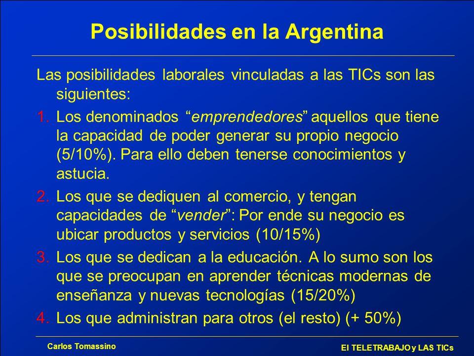 Carlos Tomassino El TELETRABAJO y LAS TICs Posibilidades en la Argentina Las posibilidades laborales vinculadas a las TICs son las siguientes: 1.Los d