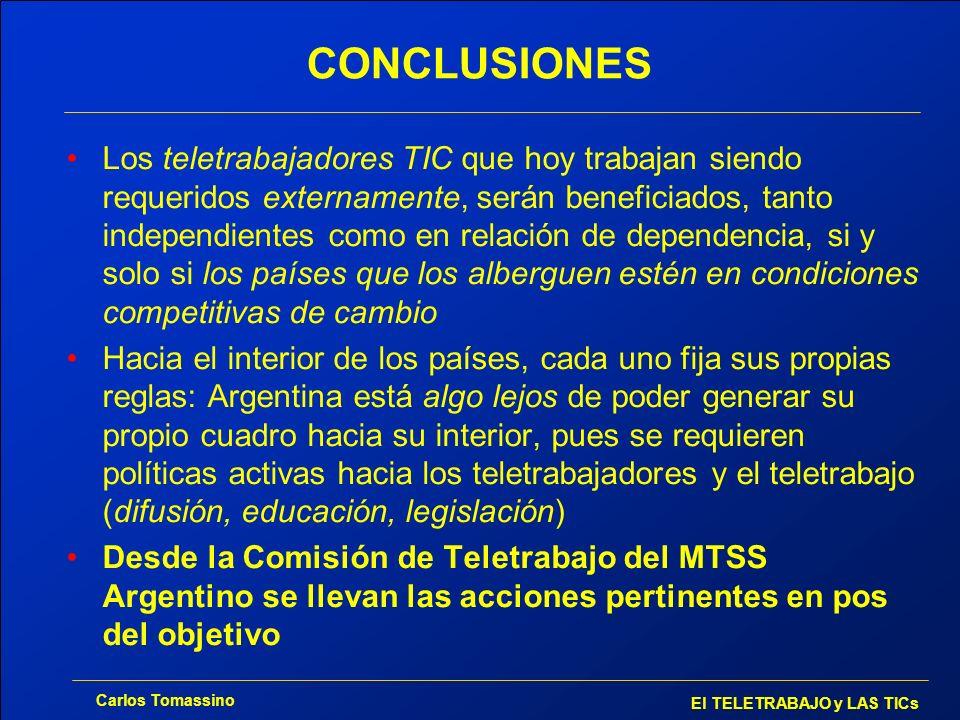 Carlos Tomassino El TELETRABAJO y LAS TICs CONCLUSIONES Los teletrabajadores TIC que hoy trabajan siendo requeridos externamente, serán beneficiados,