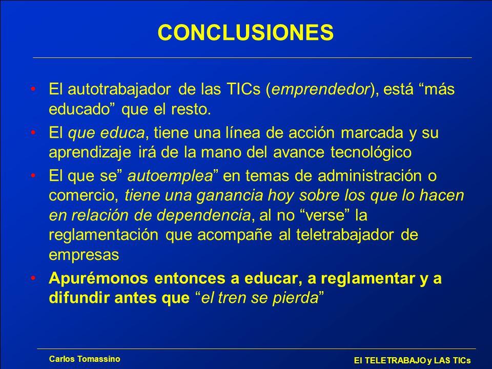 Carlos Tomassino El TELETRABAJO y LAS TICs CONCLUSIONES El autotrabajador de las TICs (emprendedor), está más educado que el resto. El que educa, tien