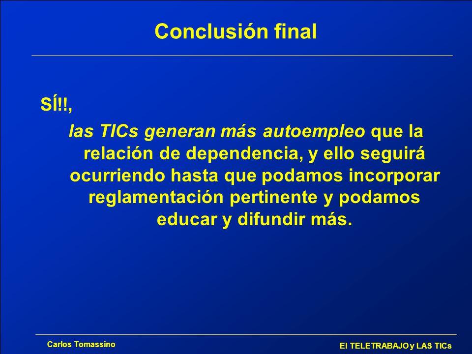 Carlos Tomassino El TELETRABAJO y LAS TICs Conclusión final SÍ!!, las TICs generan más autoempleo que la relación de dependencia, y ello seguirá ocurr