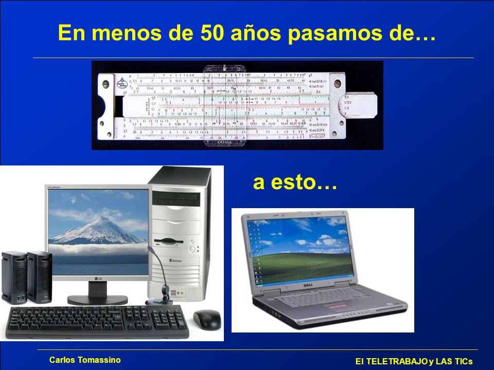 Carlos Tomassino El TELETRABAJO y LAS TICs En menos de 50 años pasamos de… a esto…