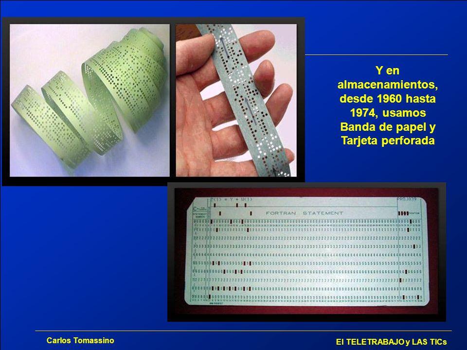 Carlos Tomassino El TELETRABAJO y LAS TICs 1980 disquete de 51/4 360 KB 1984 disquete de 3 ½ - 1.44 MB 1990 640 MB 2004 32 GB Y en otros 25 años cambiamos a tipos mucho más modernos de almacenamiento de datos