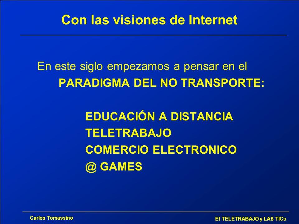 Carlos Tomassino El TELETRABAJO y LAS TICs Con las visiones de Internet En este siglo empezamos a pensar en el PARADIGMA DEL NO TRANSPORTE: EDUCACIÓN