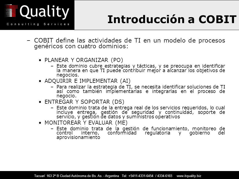 Introducción a COBIT –COBIT define las actividades de TI en un modelo de procesos genéricos con cuatro dominios: PLANEAR Y ORGANIZAR (PO) –Este domini