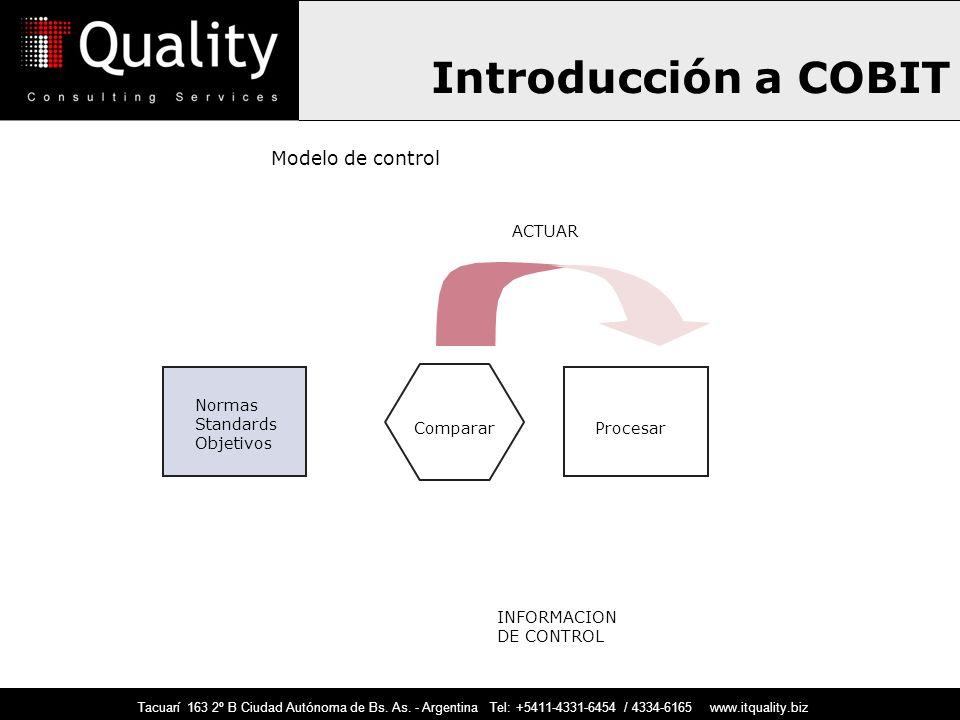 Introducción a COBIT Normas Standards Objetivos Modelo de control CompararProcesar ACTUAR INFORMACION DE CONTROL Tacuarí 163 2º B Ciudad Autónoma de B