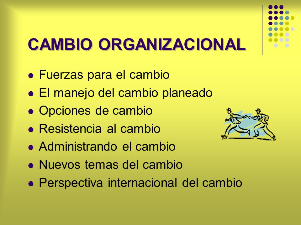 CAMBIO ORGANIZACIONAL Fuerzas para el cambio El manejo del cambio planeado Opciones de cambio Resistencia al cambio Administrando el cambio Nuevos tem