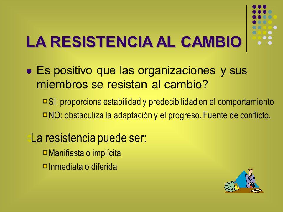 LA RESISTENCIA AL CAMBIO Es positivo que las organizaciones y sus miembros se resistan al cambio? SI: proporciona estabilidad y predecibilidad en el c