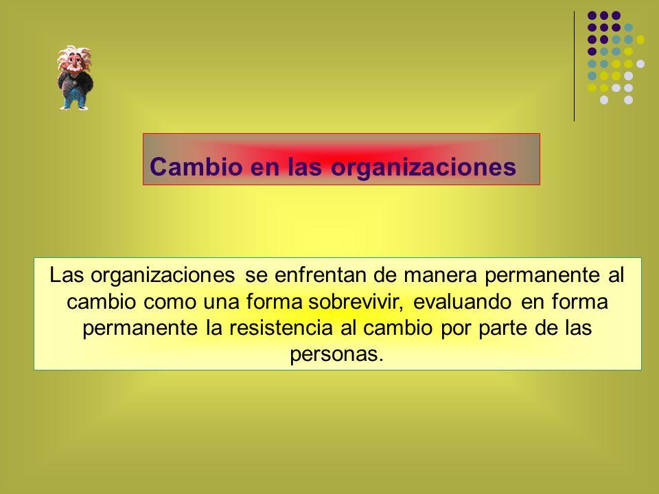 Las organizaciones se enfrentan de manera permanente al cambio como una forma sobrevivir, evaluando en forma permanente la resistencia al cambio por p