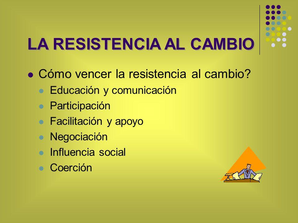 Cómo vencer la resistencia al cambio? Educación y comunicación Participación Facilitación y apoyo Negociación Influencia social Coerción LA RESISTENCI