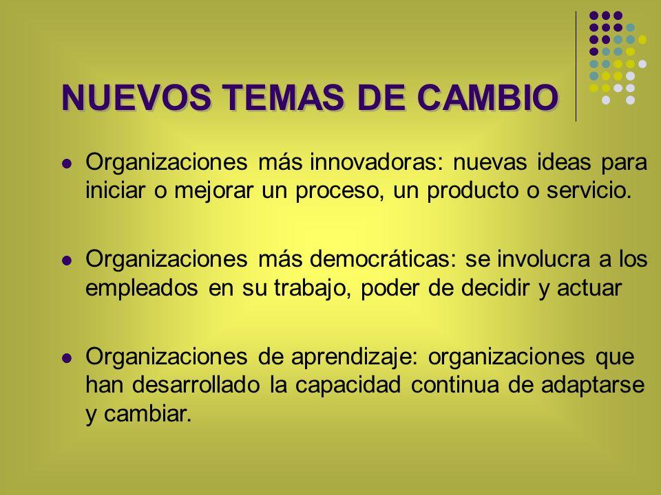NUEVOS TEMAS DE CAMBIO Organizaciones más innovadoras: nuevas ideas para iniciar o mejorar un proceso, un producto o servicio. Organizaciones más demo