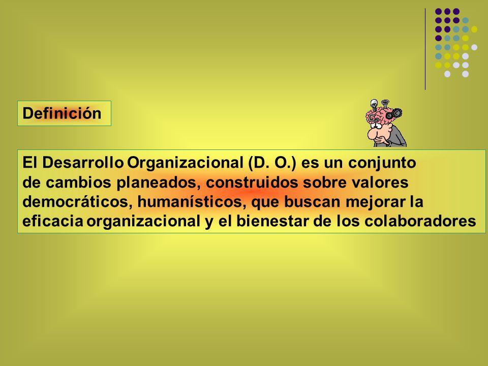 El Desarrollo Organizacional (D. O.) es un conjunto de cambios planeados, construidos sobre valores democráticos, humanísticos, que buscan mejorar la