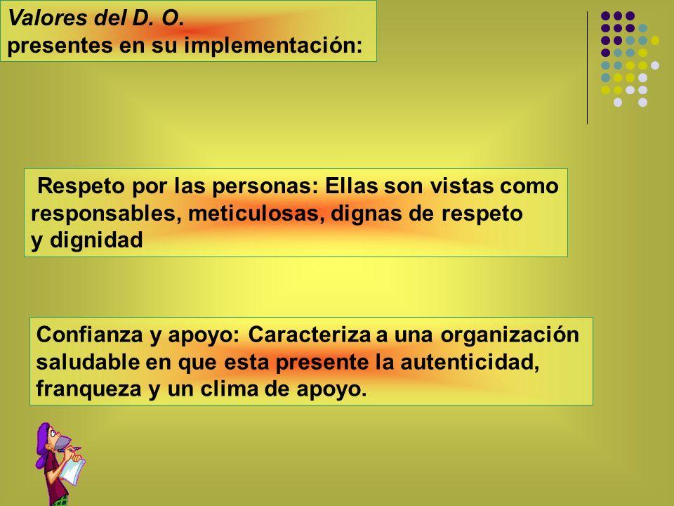 Valores del D. O. presentes en su implementación: Respeto por las personas: Ellas son vistas como responsables, meticulosas, dignas de respeto y digni