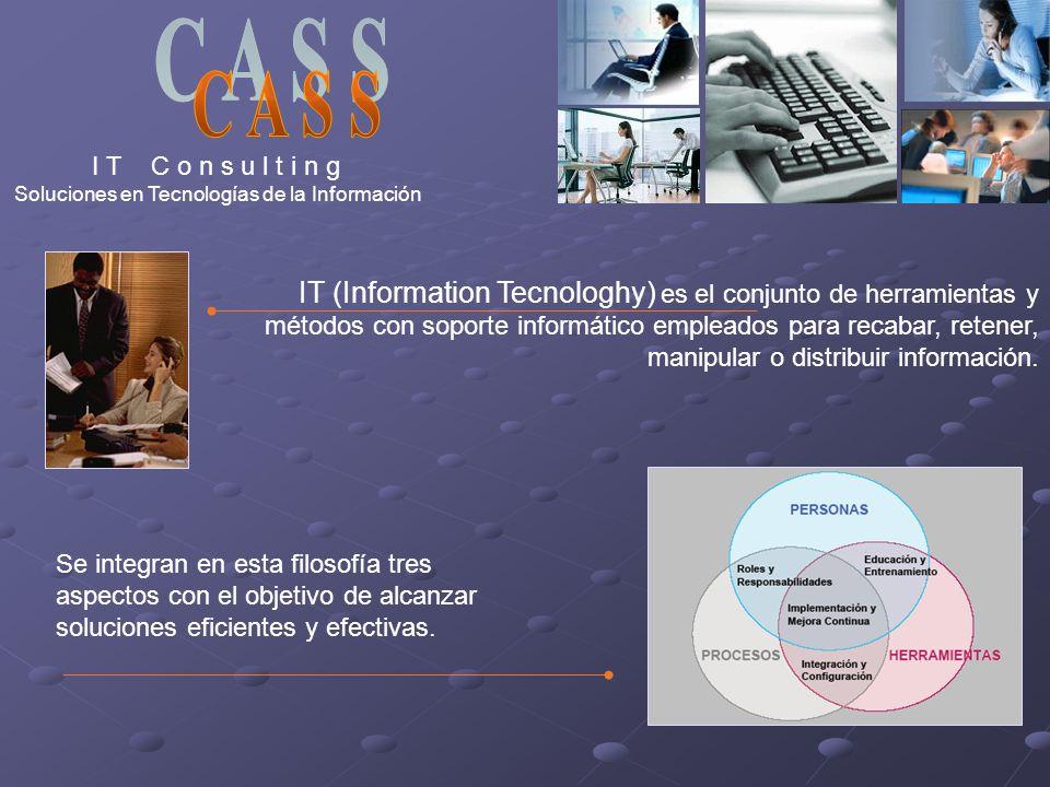 I T C o n s u l t i n g Soluciones en Tecnologías de la Información IT (Information Tecnologhy) es el conjunto de herramientas y métodos con soporte i