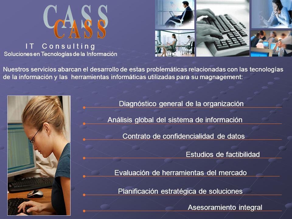 I T C o n s u l t i n g Soluciones en Tecnologías de la Información Nuestros servicios abarcan el desarrollo de estas problemáticas relacionadas con l
