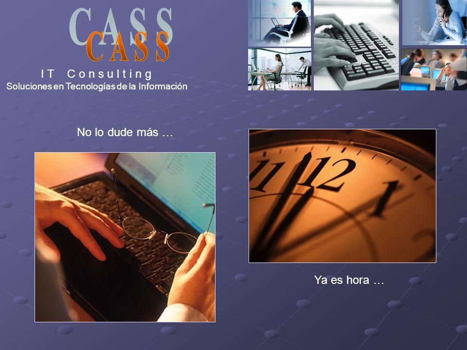 I T C o n s u l t i n g Soluciones en Tecnologías de la Información No lo dude más … Ya es hora …