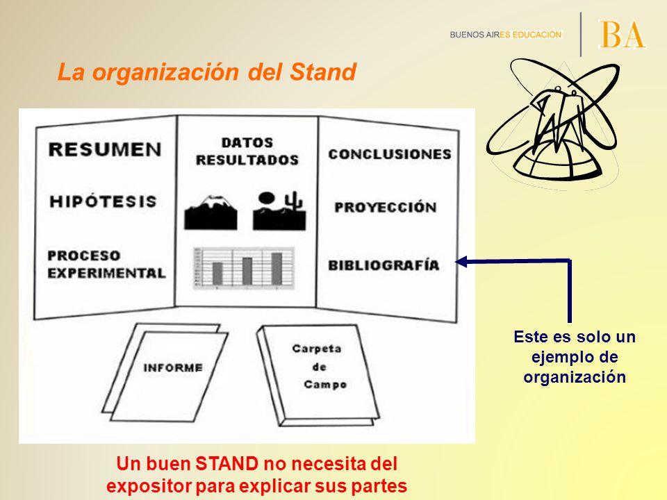 La organización del Stand Un buen STAND no necesita del expositor para explicar sus partes Este es solo un ejemplo de organización