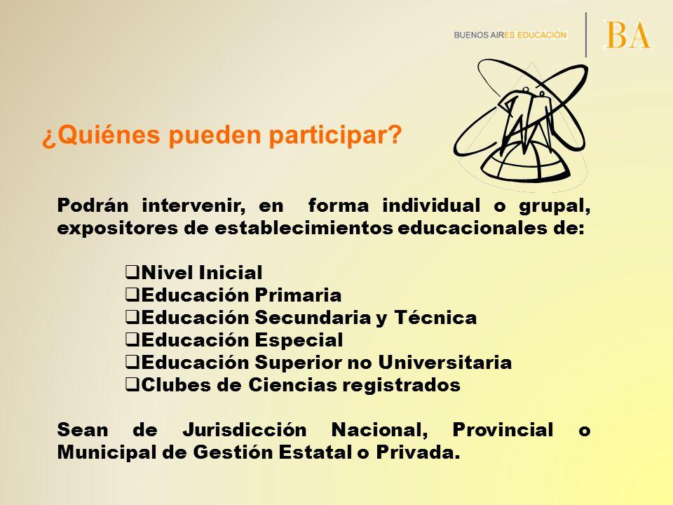 ¿Quiénes pueden participar? Podrán intervenir, en forma individual o grupal, expositores de establecimientos educacionales de: Nivel Inicial Educación