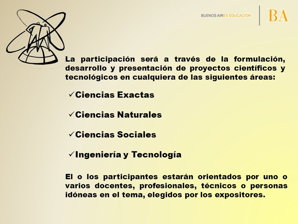 Ciencias Exactas Ciencias Naturales Ciencias Sociales Ingeniería y Tecnología La participación será a través de la formulación, desarrollo y presentac