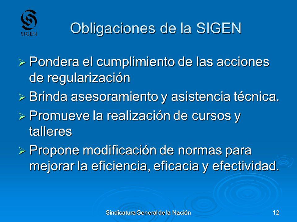 Sindicatura General de la Nación12 Obligaciones de la SIGEN Pondera el cumplimiento de las acciones de regularización Pondera el cumplimiento de las a