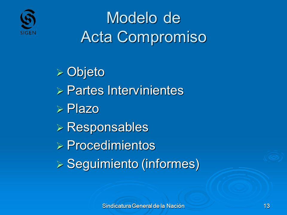 Sindicatura General de la Nación13 Modelo de Acta Compromiso Objeto Objeto Partes Intervinientes Partes Intervinientes Plazo Plazo Responsables Respon