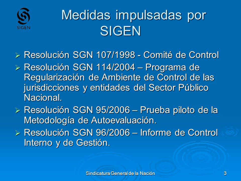 Sindicatura General de la Nación3 Medidas impulsadas por SIGEN Medidas impulsadas por SIGEN Resolución SGN 107/1998 - Comité de Control Resolución SGN
