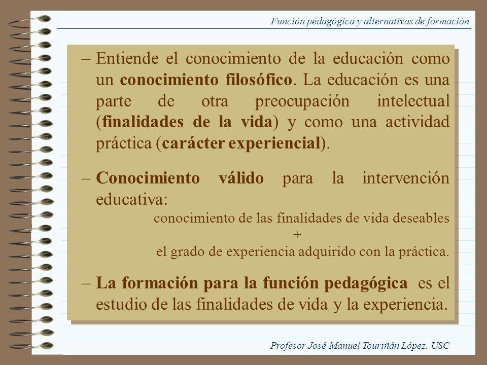 Función pedagógica y alternativas de formación –Entiende el conocimiento de la educación como un conocimiento filosófico. La educación es una parte de