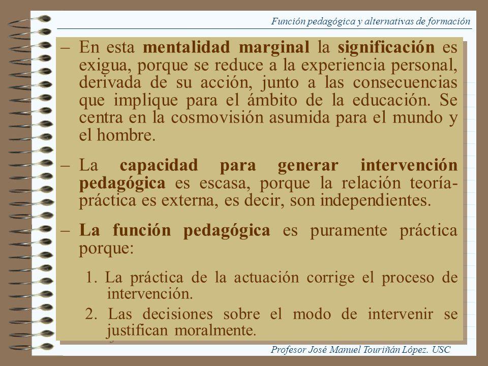 Función pedagógica y alternativas de formación –En esta mentalidad marginal la significación es exigua, porque se reduce a la experiencia personal, de