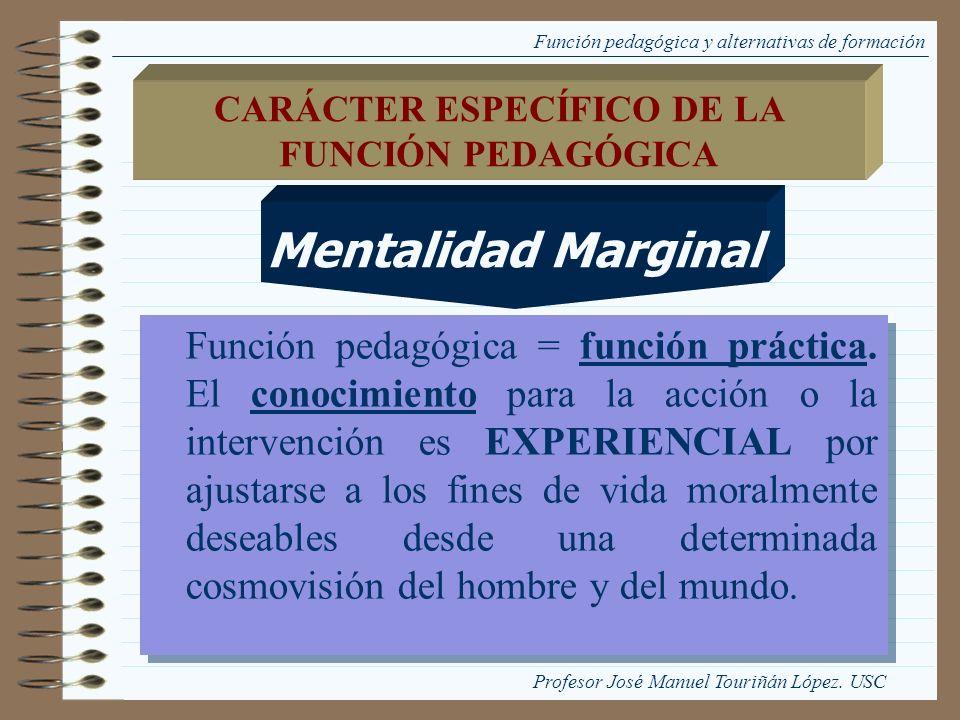 Función pedagógica y alternativas de formación Función pedagógica = función práctica. El conocimiento para la acción o la intervención es EXPERIENCIAL