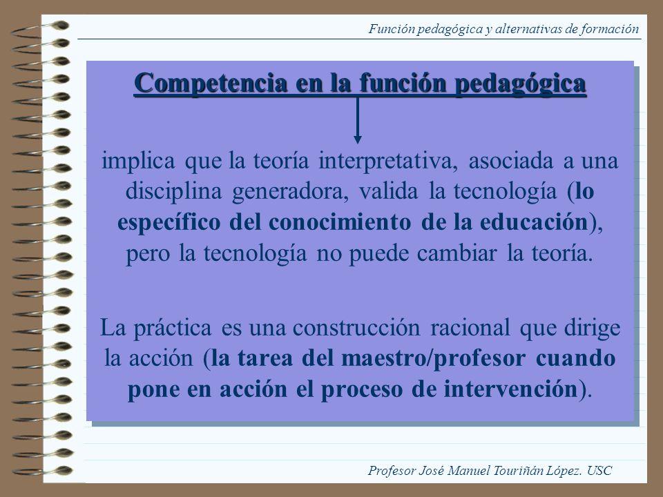 Función pedagógica y alternativas de formación Competencia en la función pedagógica implica que la teoría interpretativa, asociada a una disciplina ge