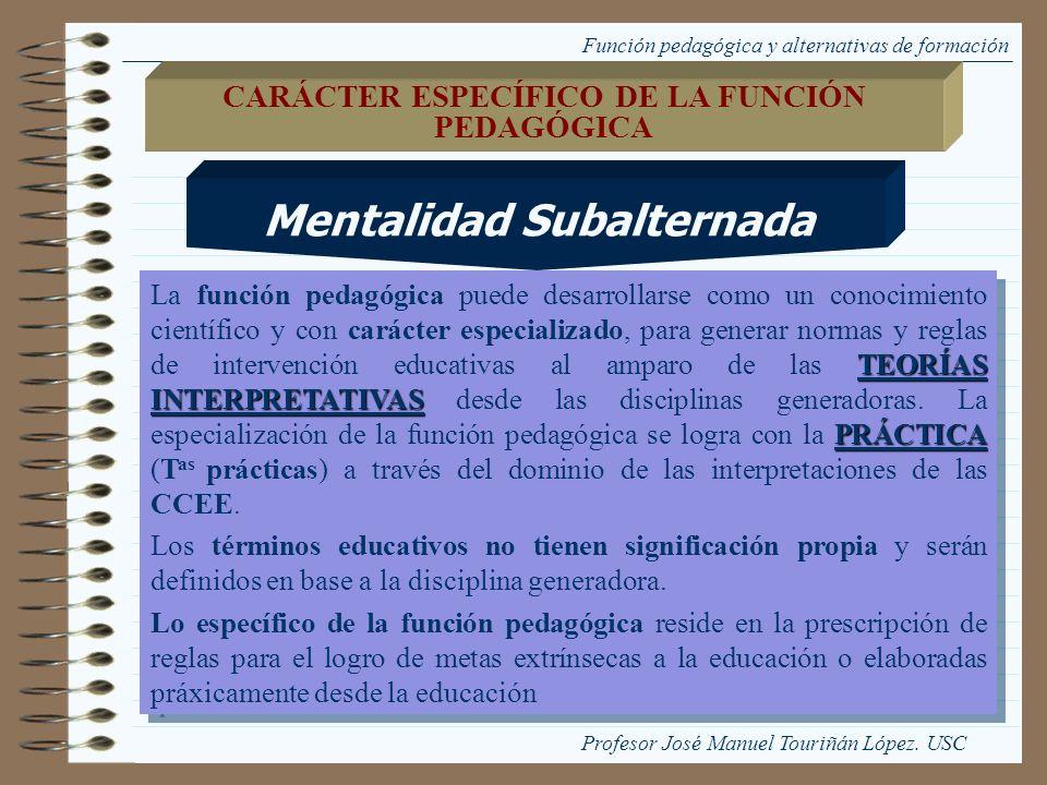 Función pedagógica y alternativas de formación TEORÍAS INTERPRETATIVAS PRÁCTICA La función pedagógica puede desarrollarse como un conocimiento científ