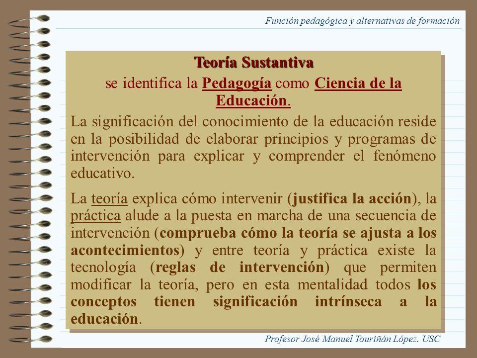 Función pedagógica y alternativas de formación Teoría Sustantiva se identifica la Pedagogía como Ciencia de la Educación. La significación del conocim