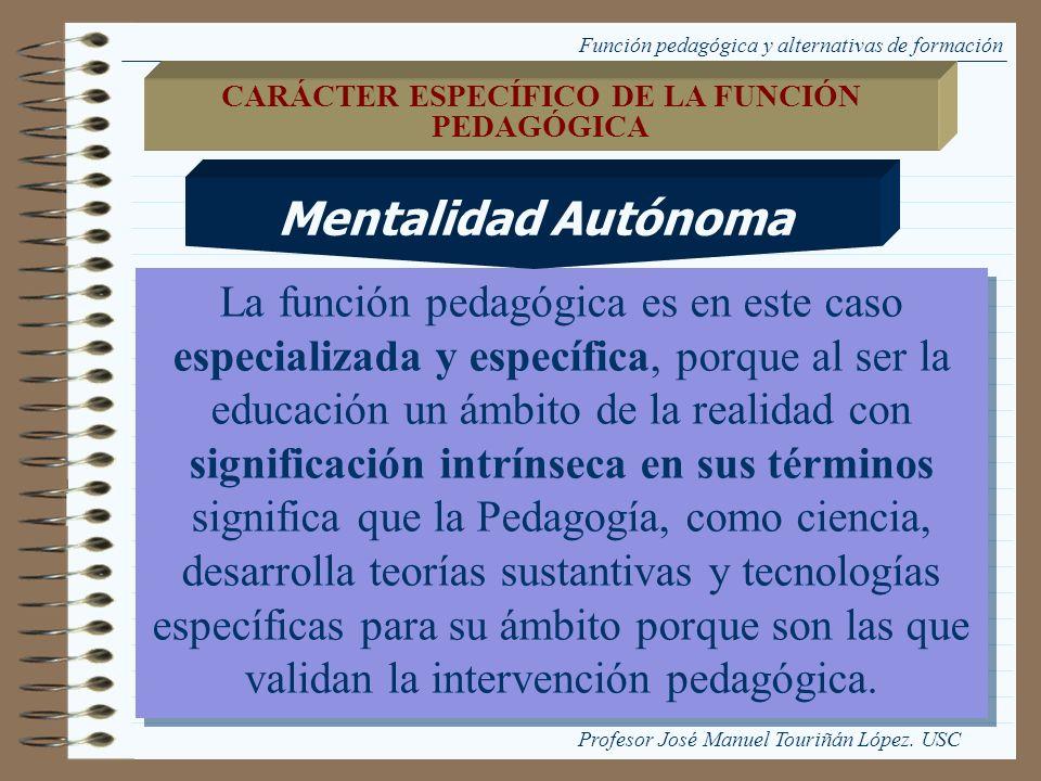 Función pedagógica y alternativas de formación La función pedagógica es en este caso especializada y específica, porque al ser la educación un ámbito