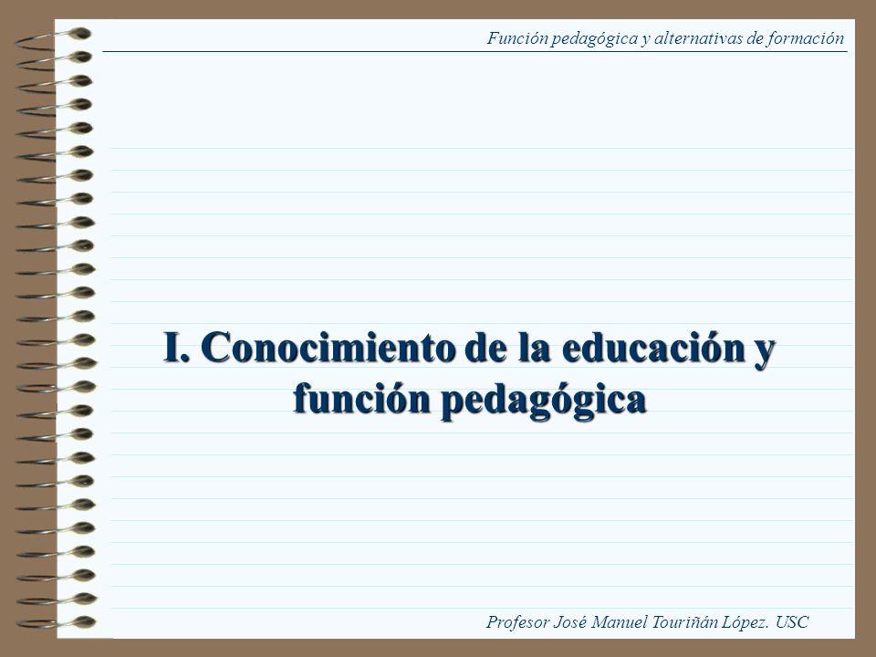 I. Conocimiento de la educación y función pedagógica Función pedagógica y alternativas de formación Profesor José Manuel Touriñán López. USC