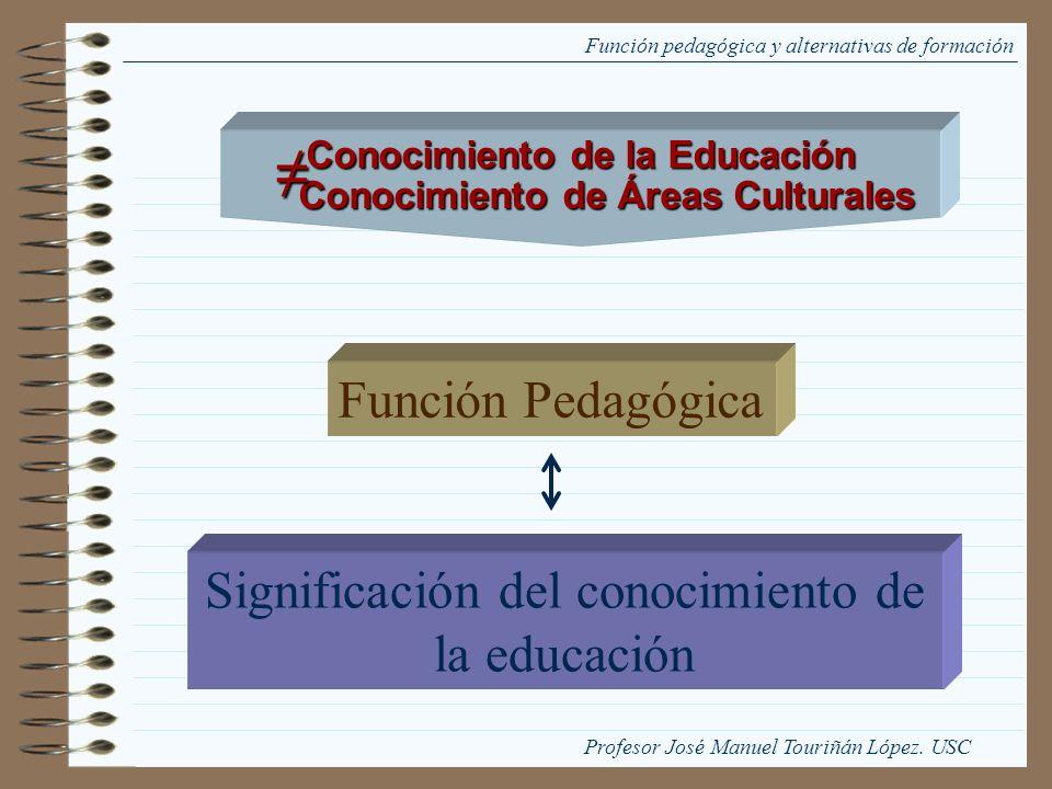 Función pedagógica y alternativas de formación Función Pedagógica Significación del conocimiento de la educación Conocimiento de la Educación Conocimi