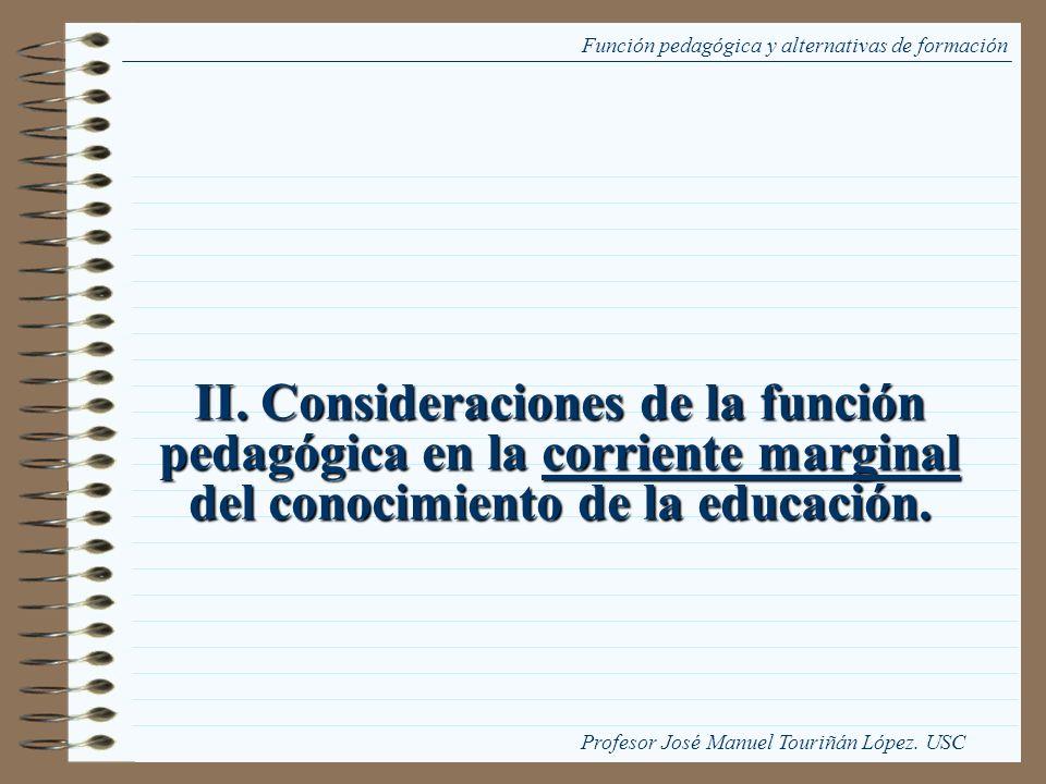 II. Consideraciones de la función pedagógica en la corriente marginal del conocimiento de la educación. Función pedagógica y alternativas de formación