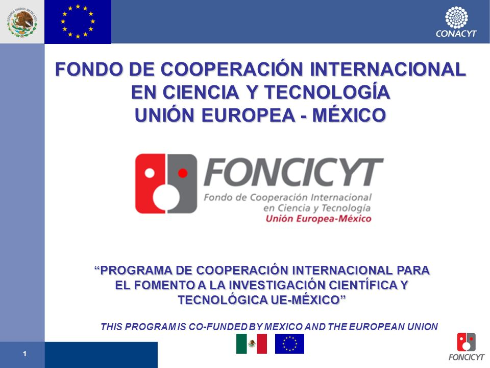 1 FONDO DE COOPERACIÓN INTERNACIONAL EN CIENCIA Y TECNOLOGÍA UNIÓN EUROPEA - MÉXICO PROGRAMA DE COOPERACIÓN INTERNACIONAL PARA EL FOMENTO A LA INVESTI