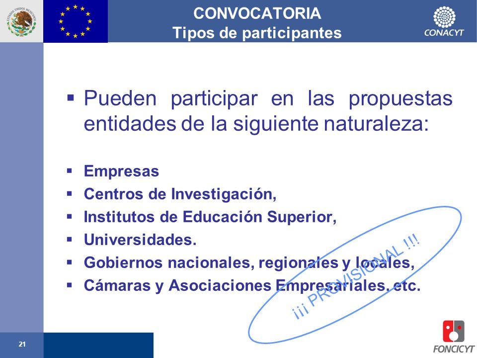 21 CONVOCATORIA Tipos de participantes Pueden participar en las propuestas entidades de la siguiente naturaleza: Empresas Centros de Investigación, In