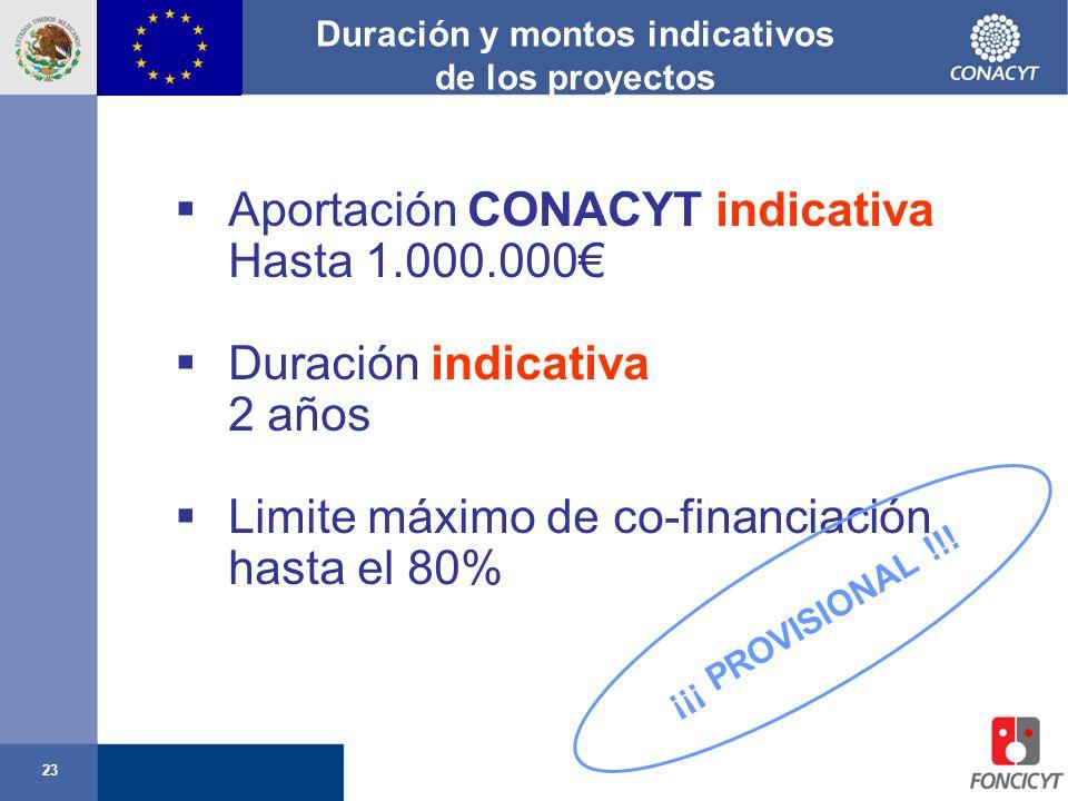 23 Duración y montos indicativos de los proyectos Aportación CONACYT indicativa Hasta 1.000.000 Duración indicativa 2 años Limite máximo de co-financi